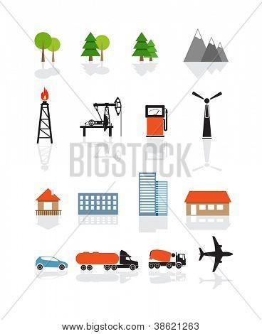 Colección de iconos de transporte y ecología aislada en blanco