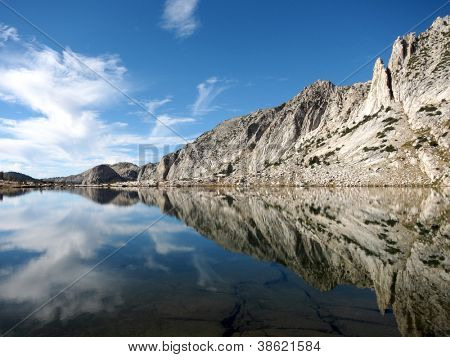 Beautiful lake with Sierra mountain reflection, California