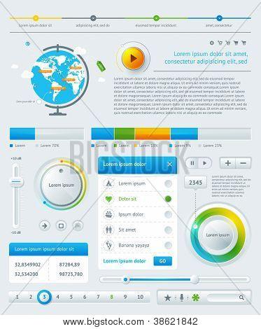 Elemente der Infografiken mit Schaltflächen und Menüs