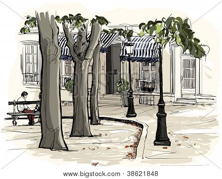 vector illustration of Paris - Montmartre in watercolor style