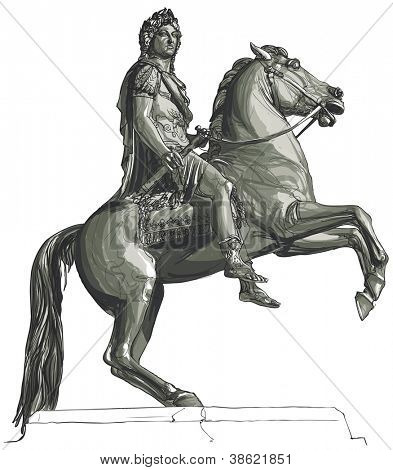 Vector illustration of French king Louis XIV equestrian statue at Place des Victoires, Paris