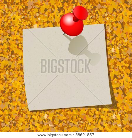 Cork board with note page and pin.Vector illustration.