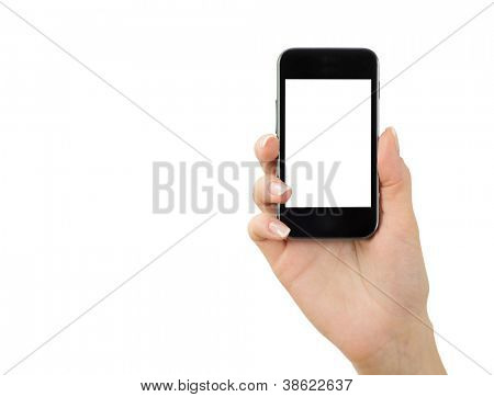 Hand halten Mobile, isolated on white
