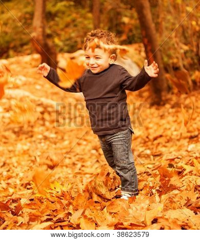 Picture of cute little boy run with raised up hands in autumnal woods, pretty small male walking in the park, cheerful infant having fun in fall forest, adorable toddler play game on backyard