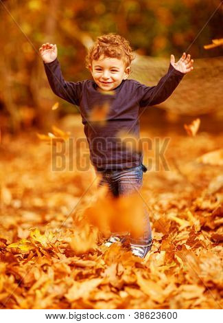 Image of cute little boy run with raised up hands in woods, adorable child enjoying autumnal nature, pretty small male walking in the park, cheerful infant having fun in fall forest