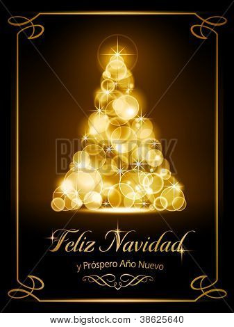 "Warmly sparkling Christmas tree made of our of focus  lights on dark brown background with the text ""Feliz Navidad y Pr�?�³spero A�?�±o Nuevo""."