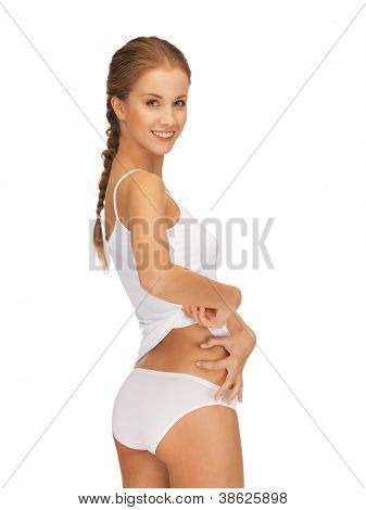 picture of woman in cotton underwear showing slimming concept