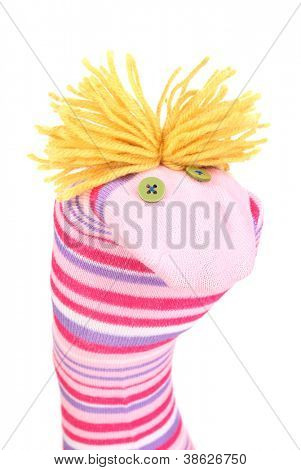 Cute sock puppet isolated on white