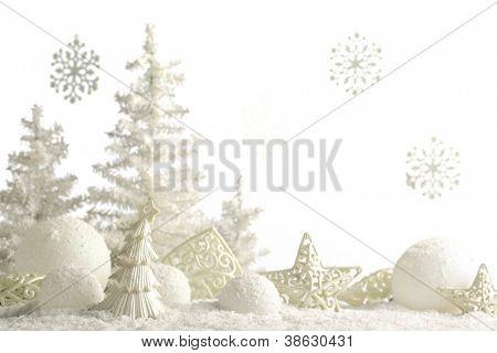 Christmas ornaments on snow.