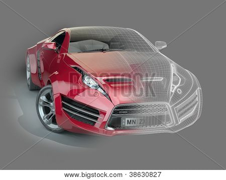 Red sports car with a wireframe. Non-branded concept car.