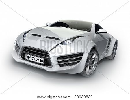 Sports car isolated on white background. Non-branded concept car.