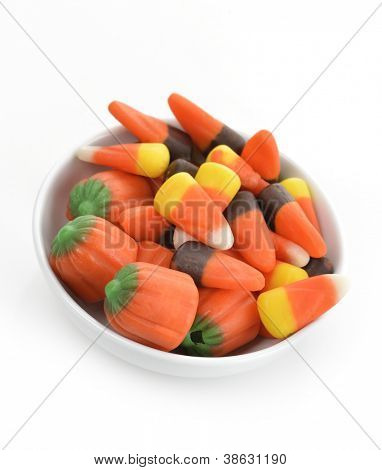 Halloween Candy Corn In A White Bowl
