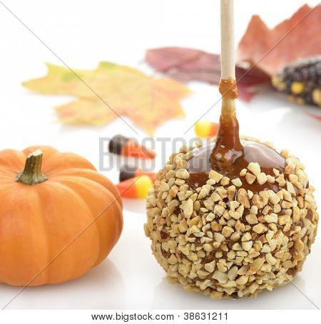 Caramel Apple And Pumpkin ,Close Up