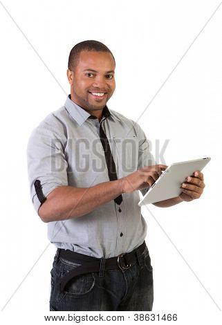 Happy Black African American College Student Working on Touch Screen Tablet PC