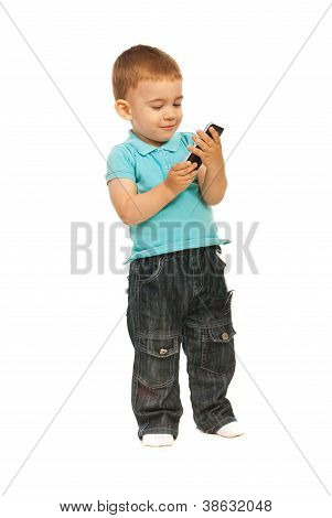 Toddler Boy Holding A Cellphone