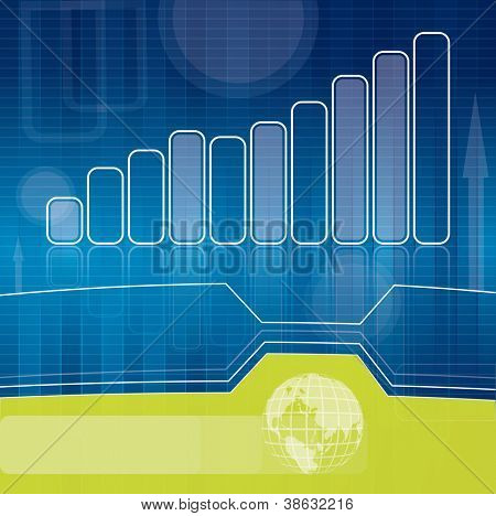 Blue and green business brochure background with graph