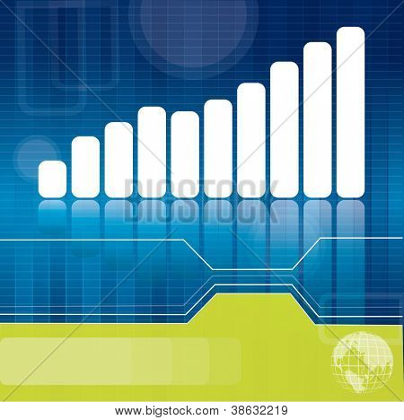 Blue and green business or finance brochure background with white diagram