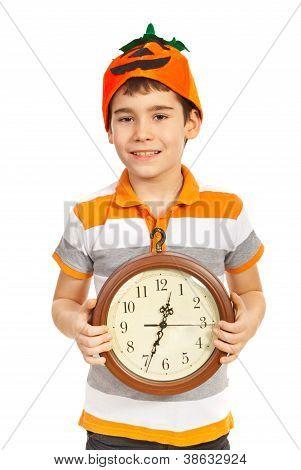 Halloween Boy Holding Clock
