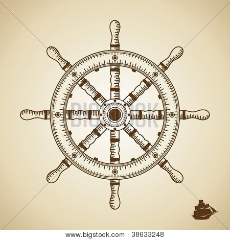 Vector wheel ship. Height quality illustration. Old style.