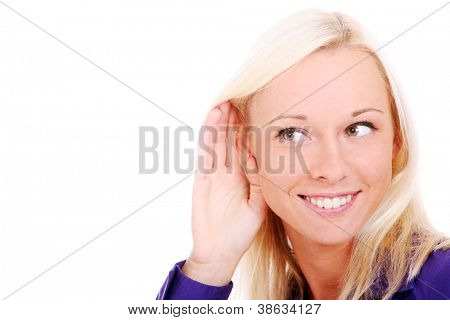 Young woman listening gossip  over white background