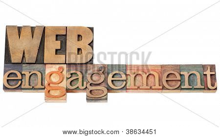 web engagement - internet presence concept - isolated text in vintage letterpress wood type