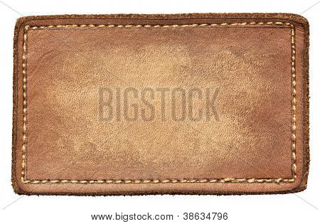Blank leather jeans label, isolated.