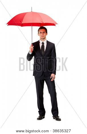 Full length portrait of businessman with opened umbrella, isolated on white