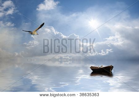 Landscape With Boat And Birds