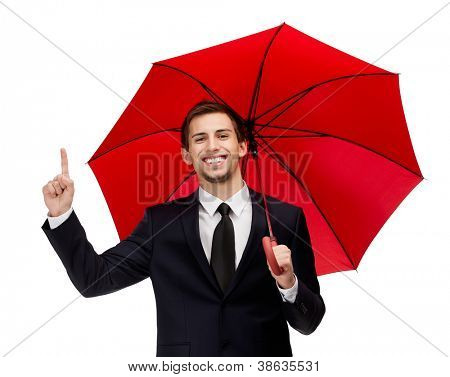 Forefinger gesturing man with opened red umbrella overhead, isolated on white