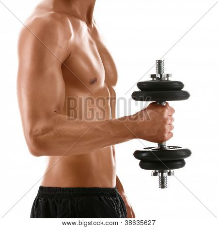 Sexy body of muscular athletic man with weight, isolated on white
