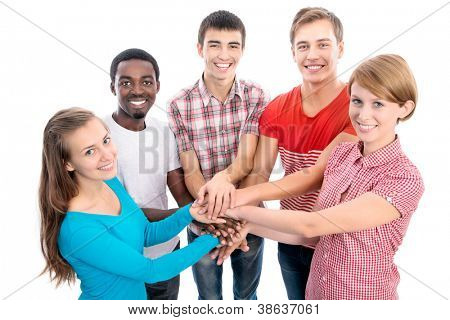 Team of friends showing unity with their hands together