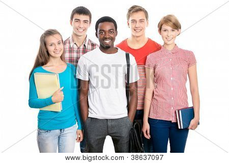 International group of happy young students
