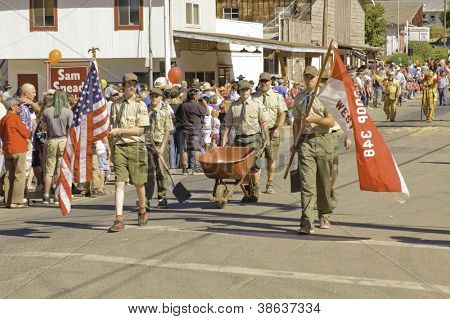 WEST POINT, CA - OCTOBER 6: Unidentified boyscouts celebrating the 38th  Lumberjack day  parade, on October 6, 2012 in West Point.
