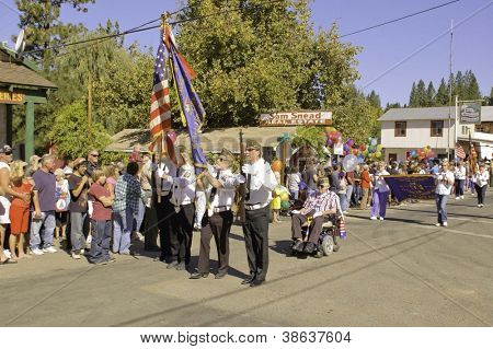 WEST POINT, CA - OCTOBER 6: Unidentified people celebrating the 38th  Lumberjack day  parade, on October 6, 2012 in West Point.