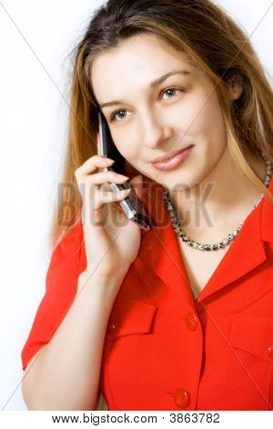 Beautiful Woman Speaking At Mobile Phone