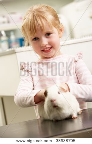 Child Taking Guinea Pig To Veterinary Surgery For Examination
