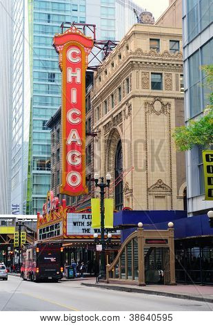 CHICAGO, IL - OCT 6: Chicago Theatre and street view on October 6, 2011 in Chicago, Illinois. The iconic Chicago Theatre marquee appears in film, television, artwork, and photography as city landmark.