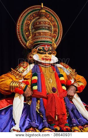 CHENNAI, INDIA - SEPTEMBER 8: Indian traditional dance drama Kathakali preformance on September 8, 2009 in Chennai, India. Performers play and Balarama (pazhupu) character Ramayana.