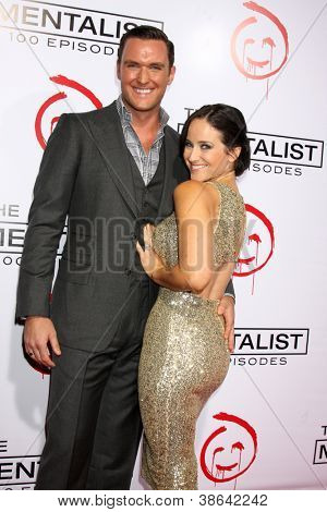"LOS ANGELES - OCT 11:  Owain Yeoman, Gigi Yallouz arrives at ""The Mentalist"" 100th Episode Party at The Edison on October 11, 2012 in Los Angeles, CA"