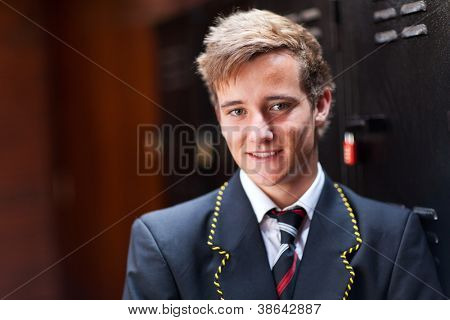 handsome male high school student portrait