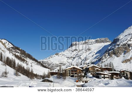Mountain ski resort with snow in winter, Val-d'Isere, Alps, France