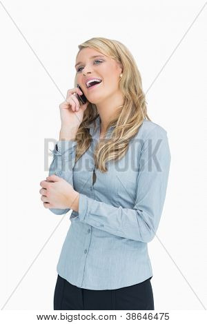 Smiling woman talking on her smartphone