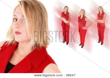 Collage Of A Beautiful Woman In Red Suit