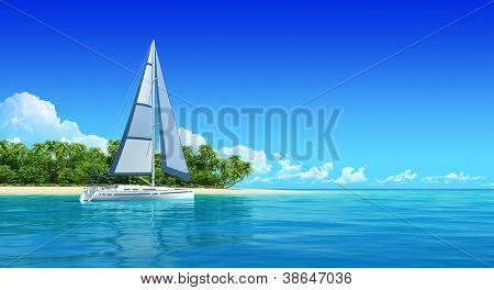 Yacht nahe der tropischen Insel. Reisen Sie Hintergrund mit Exemplar. Meer Panorama Meerblick.