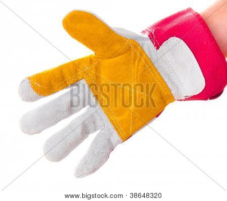 gloved hand with a hacksaw isolated on a white background