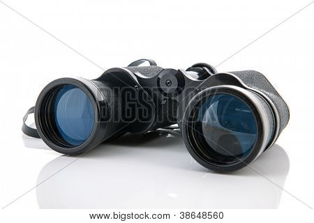 Schwarz Fernglas isolated over white background