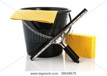 Tools for cleaning windows isolated over white background