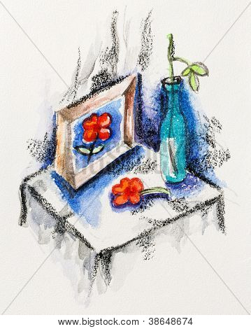 Still life with dead flower, vase and picture, watercolor with slate-pencil painting