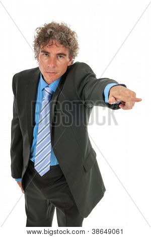 Angry businessman is pointing out isolated over white background