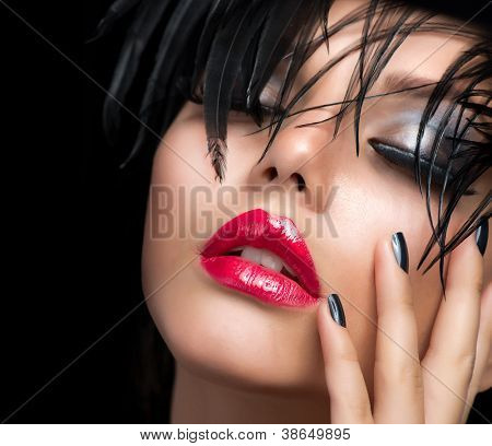 Fashion Art Girl Portrait.Vivid Makeup.Make-up